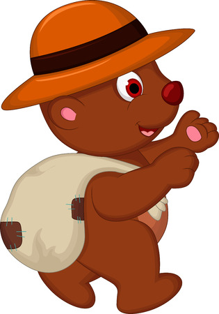 cute brown bear cartoon with hat walking Stock Vector - 27596217