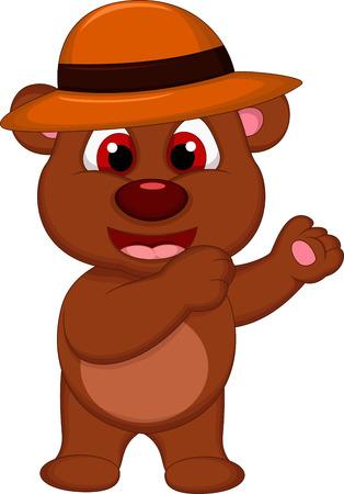 cute brown bear cartoon with hat posing Stock Vector - 27596215