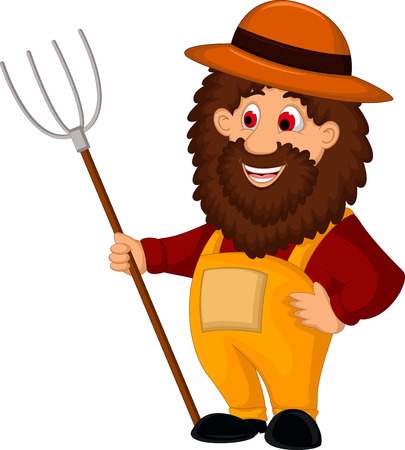 stereotypical: farmer cartoon  holding a pitchfork Illustration