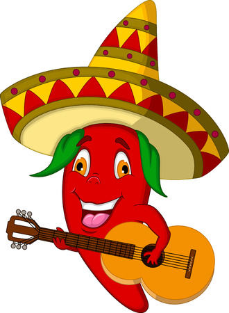 Red Chili Pepper Cartoon Character With Mexican Hat And Mustache Playing A Guitar Vector