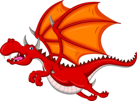 red dragon cartoon flying Vector