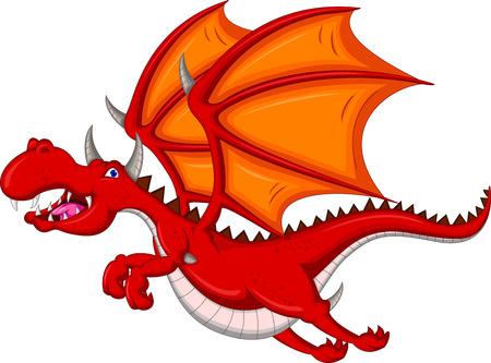 red dragon cartoon flying Vector