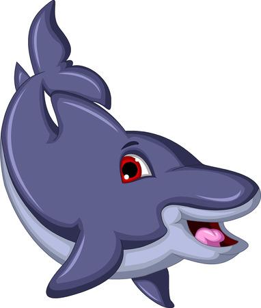 cetacean: cute Cartoon Dolphin swiming Illustration