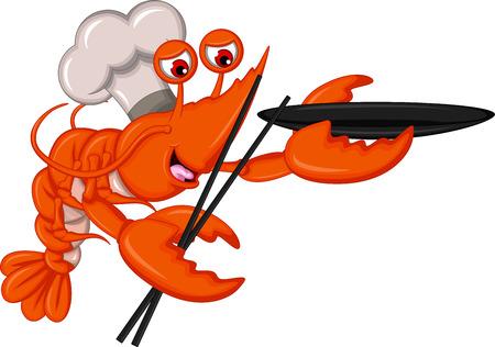 Chef de bande dessinée de homard avec des baguettes et un bol