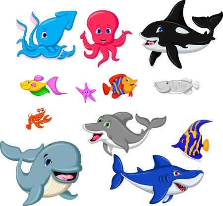 set of cartoon marine animals