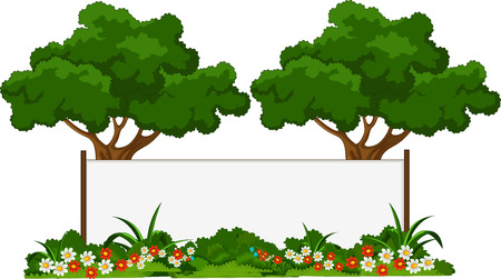 garden fence: beautiful garden and various plants with blank sign Illustration