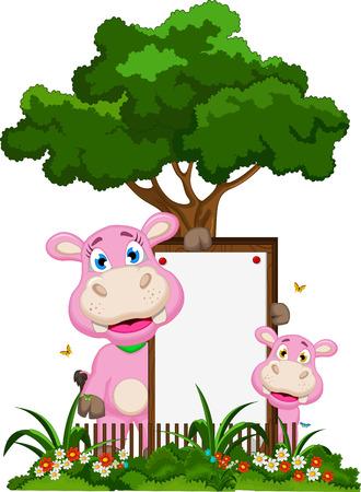 hipopotamo caricatura: Historieta linda del hipop�tamo con la muestra en blanco en el jard�n