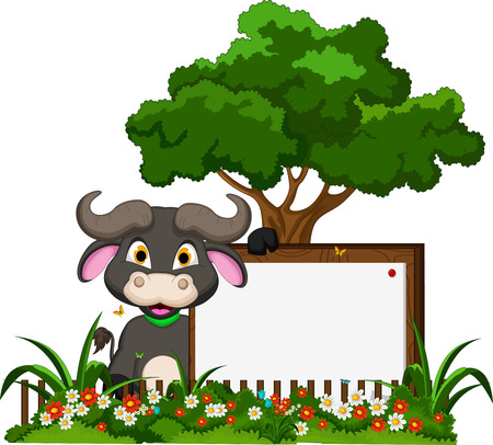 buffalo cartoon with blank sign on garden Vector
