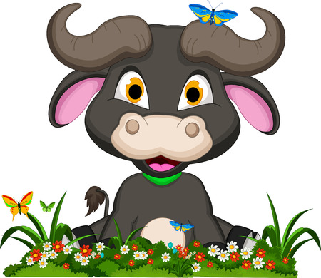 buffalo cartoon with flowers garden Vector