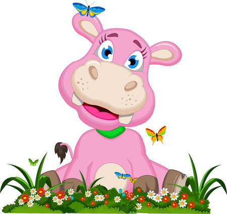 Cute hippo cartoon with flowers Vector