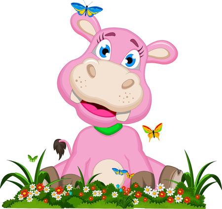 hipopotamo caricatura: Historieta linda del hipop�tamo con flores