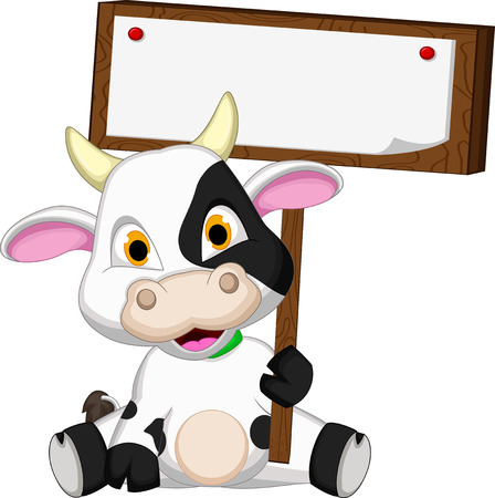 Historieta linda de la vaca con la tarjeta en blanco Foto de archivo - 28346040