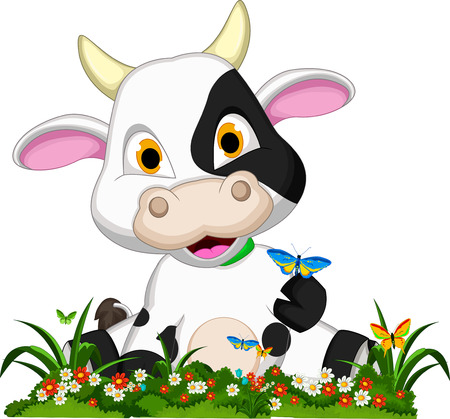Cute cow cartoon on flower garden Vector