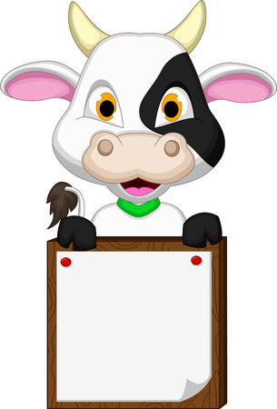Cute cow cartoon with blank board Vector