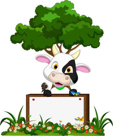 Cute cow cartoon on flower garden with blank board  Vector