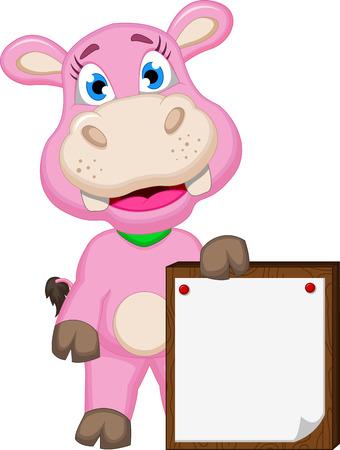 hipopotamo caricatura: Historieta linda del hipop�tamo con la muestra en blanco