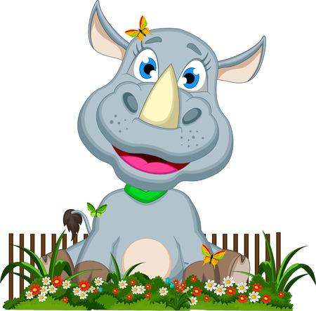 hunted: cute rhino cartoon sitting on flower garden Illustration