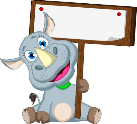 caricatura Rhino divertido con la muestra en blanco Ilustración de vector