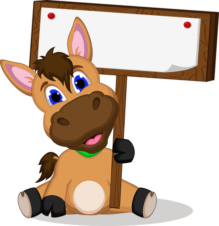 Cute cartoon horse with blank sign Vector