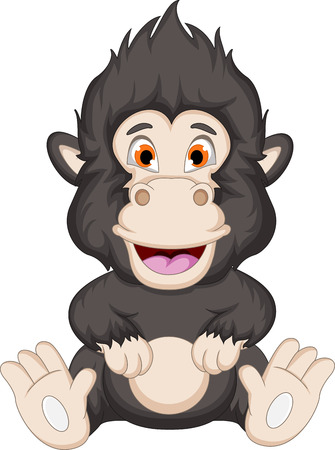 gorilla cartoon sitting Vector