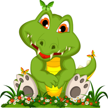 cute crocodile cartoon sitting in flower garden Vector