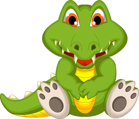 cute crocodile cartoon sitting Illustration