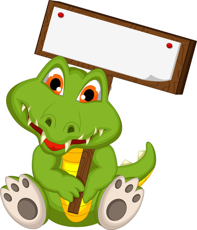 cute crocodile cartoon holding blank board Vector