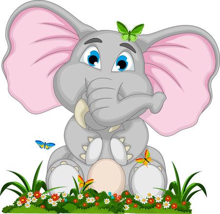 dessin papillon: mignon bande dessin�e d'�l�phant assis dans le jardin Illustration