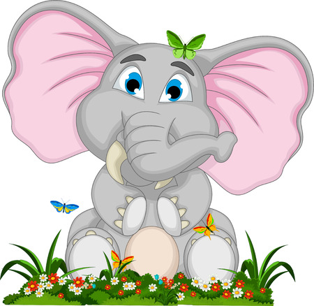 cute elephant cartoon sitting in garden Illustration