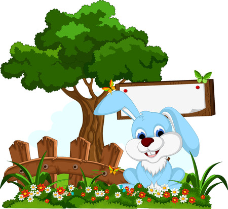 cute rabbit cartoon with blank board in flower garden Vector