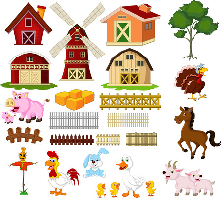illustration of the things and animals at the farm Vector