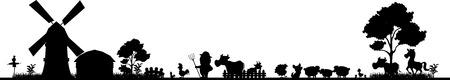 silueta niño: silueta granja