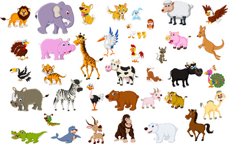 animals in the wild: big animal cartoon collection Illustration