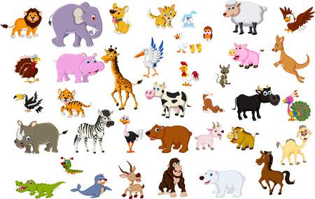 big animal cartoon collection Vectores