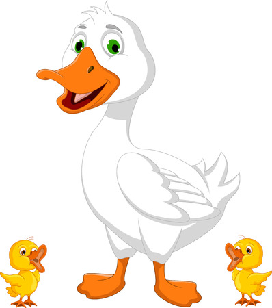 Illustration of duck cartoon with chick Vector