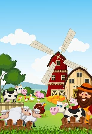 Funny farmer at his farm with a bunch of farm animals Vector