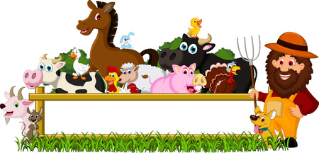 cute Farm Family with blank board Vector