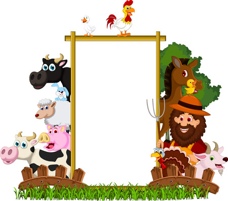 Farm Family with blank board Vector