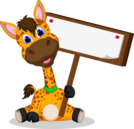 cute giraffe cartoon holding blank sign Vector