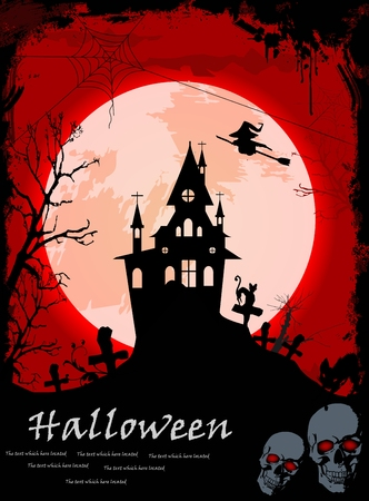 Halloween night, black castle on the moon background Vector
