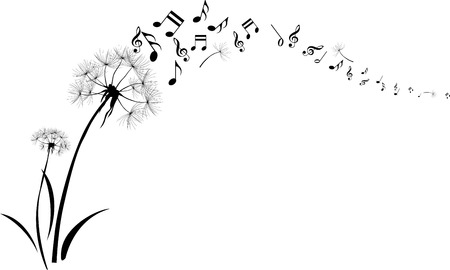blowing dandelion: tarassaco con musica nota in volo su sfondo bianco