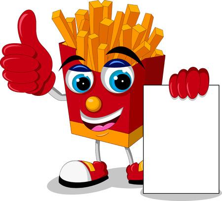 fried potatoes: fried potatoes cartoon thumb up with blank sign
