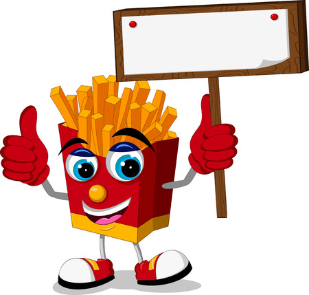 fried potatoes cartoon thumb up with blank board