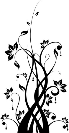 black and white plant: Silhouette of Abstract floral background