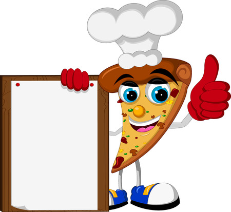 cute pizza cartoon thumb up holding blank board Illusztráció