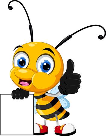 Pequeña historieta de la abeja que sostiene la tarjeta en blanco y la celebración de firmar en blanco Foto de archivo - 31396440