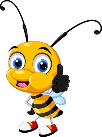 작은 꿀벌 만화 엄지 손가락 일러스트