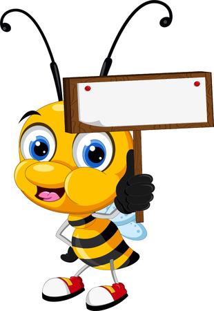 Kleine Biene Cartoon mit leeren Bord Standard-Bild - 31397470
