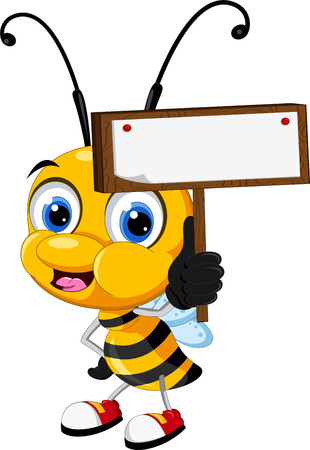 little bee cartoon holding blank board Illustration