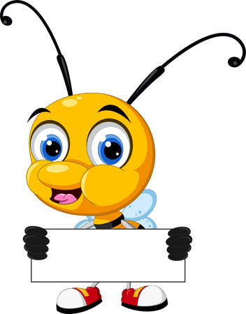 little bee cartoon holding blank board Иллюстрация